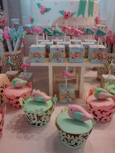 Bird baptism party cupcakes! See more party planning ideas at CatchMyParty.com!