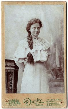 +~+~ Antique Photograph ~+~+  Young woman with braid