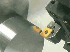 A lathe going through metal like butter