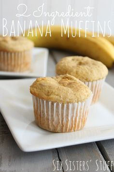 2 Ingredient Banana Muffins – Six Sisters' Stuff   Do you have leftover bananas? Then this is the perfect recipe for you! I threw it together in a matter of minutes and my kids were thrilled to have hot muffins for breakfast! #recipe #easyrecipes #easybreakfast #sixsistersrecipes #muffins