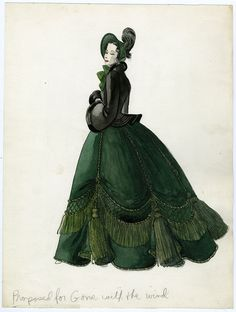 Design proposal for Scarlett's drapery dress by Harriet King for Gone With the Wind (1939). The job eventually went to Walter Plunkett.    From Material Mode (FIT)