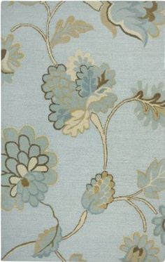 """Rizzy Home Rug DI1615 Light Blue Color Hand Tufted in India """"Dimensions Collection"""" Floral Pattern"""