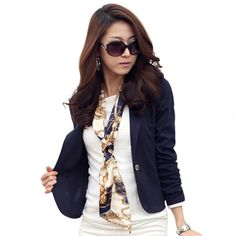 NEW Women Blazer Coat Fashion Casual Jacket Long Sleeve One Button Candy Color Suit Ladies OL Blazers #Affiliate
