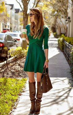 Green Double Crossed dress with brown knee boots.