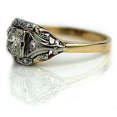 Vintage Two Tone Diamond Ring .60 Carat