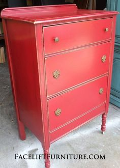 Antique Chest Of Drawers In Barn Red With Black Glaze. Original Pulls. From  Facelift