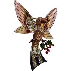 1940's Coro sterling enamel bird fruit tree pin