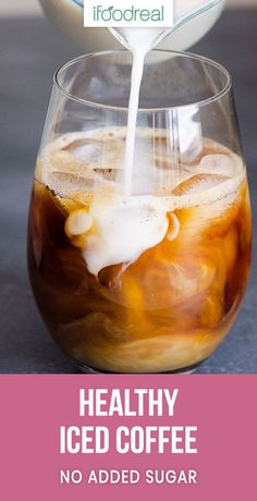 Healthy Iced Coffee Recipe with only 28 calories. No added sugar this tasty refr… Healthy Iced Coffee Recipe with only 28 calories. No added sugar this tasty refreshing summer drink is much cheaper and healthier than Starbucks. Healthy Iced Coffee, Homemade Iced Coffee, Vanilla Iced Coffee, Iced Coffee Drinks, Almond Milk Coffee, Coffee Coffee, Coffee Maker, Iced Coffee Recipes, Healthy Coffee Creamer
