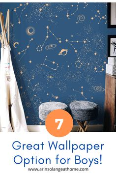 Wallpaper isn't just for girls! Here are 7 great wallpaper options and ideas that will work great in a boys room or nursery. Animals, stars, and masculine colors and prints! Neutral Wallpaper, Boys Wallpaper, Peel And Stick Wallpaper, Nursery Modern, Modern Room, Inspirational Wallpapers, Baby Boy Nurseries, Room Decor Bedroom, Girl Room