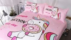 Cute Unicorn Bedding Sets Duvet Cover Rainbow Hair Kids Bedding Sets Colorful Pink Blue Girly Bedspreads Donuts Twin/Full/Queen/King Size Store from the world's largest selection ✔ Exclusive Products ✔ Fast delivery, low cost ✔ Professional Service Unicorn Bedroom Decor, Unicorn Rooms, Unicorn Bed Set, Unicorn Kids, Cute Unicorn, Unicorn Party, Rainbow Unicorn, Unicorn Donut, Unicorn Wall