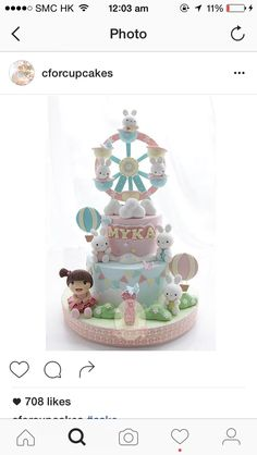 Rabbits and girl carousel cake Adult Birthday Cakes, First Birthday Cakes, Baby Shower Sweets, Baby Shower Cakes, Baby Boy Cakes, Girl Cakes, Fancy Cakes, Cute Cakes, Fondant Cakes