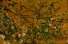 Maple Tree, by Hasegawa Tōhaku, late 16th century, Momoyama period (1573-1615), four fusuma panels, ink, colors, and gold leaf on paper, located at ChishakuinTerm