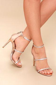Aerin Rose Gold Rhinestone Ankle Strap Heels 6