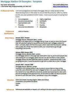 Mortgage Advisor Cv Example Cv Examples Job Resume Samples Resume Examples