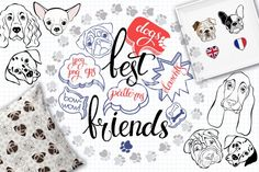 vector collection of illustrations and patterns is dedicated to our fluffy friends - dogs. Set represents 8 breeds of our pets: Basset Hound, Shar pei, French Bulldog, English Bulldog, Chihuahua, Dalmatian, Pug, Spaniel. It's suitable for printing high quality projects such as postcards, stickers and lots of other pictures. Patterns can be used in the textile industry and printing. We get the beautiful fabric, wallpaper or wrapping.&