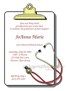 Medical Or Nursing Degree Graduation Invitation  Nursing School