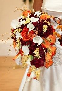 Cascade Realtouch Mini Calla Lily Silk Burgundy Hydrangea Orange Silk Rose Bridal Bouquet Set on Etsy, $250.00