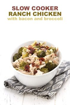 Super easy Keto Ranch Chicken with broccoli and bacon. It's made in your slow cooker and is Paleo and totally dairy-free.   #paleo #dairyfree #lowcarb #keto via @dreamaboutfood