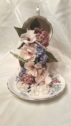 Floating Floral Teacup Topiary by ShelbyChiCraftDesign on Etsy Unique Centerpieces, Wedding Table Centerpieces, Teacup Centerpieces, Table Decorations, Topiary Wedding, Floating Tea Cup, Teacup Crafts, Diy Table Top, Faux Flowers
