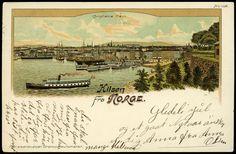 Christiania Kristiania Oslo HILSEN FRA NORGE. Fint kolorert kort med Christiania havn  Utg Brevkortautomaten. Br. 1904.