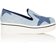 Stella McCartney Women's Binx Denim Platform-Wedge Sneakers ($565) ❤ liked on Polyvore featuring shoes, sneakers, blue, platform slip on sneakers, blue shoes, slip-on sneakers, platform wedge sneakers and slip on sneakers