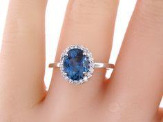 14K White Gold Diamond Oval London Blue Topaz Engagement Ring Wedding Ring Art Deco Ring Promise Ring Classic Halo Yellow Gold Rose Gold 18K
