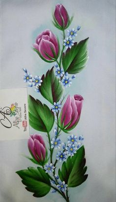 Artes Art Floral, Flower Tattoo Designs, Flower Designs, Fabric Painting, Painting On Wood, Pinterest Pinturas, Donna Dewberry Painting, Fabric Paint Designs, Paint Cards