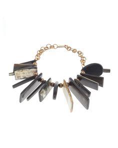 Ashley Pittman Long Dark Horn Dangle Necklace, Women's, Gold