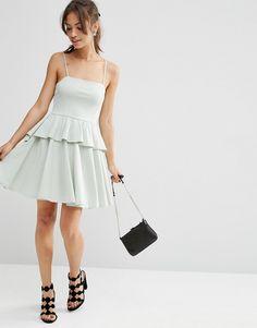 2291 Изображение 4 из Приталенное платье мини с оборкой на подоле ASOS