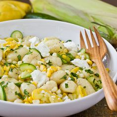Gnocchi with Squash & Sweet Corn - Made 8.24.12 - Used a 17.6oz package of whole wheat gnocchi, only 3 tbsp butter, more zucchini and squash than it called for, and gorgonzola instead of goat cheese.  So good!