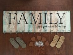 This is the perfect addition to any home! What better way is there than this to remember your families special dates! This sign measures 21 1/4 x 7 x 1/2. It comes with 24 circles(12 taupe and 12 mustard yellow) for birthdays and 5 hearts for anniversaries. Additional circles or hearts are available to purchase.. I have used Cinnamon for the hearts. The circles, taupe and mustard yellow. This makes the generations pop. I put parents and kids on taupe, grand kids on mustard yellow and…