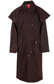 All New Waterproof Brown Australian Oilskin Duster Coat Jacket