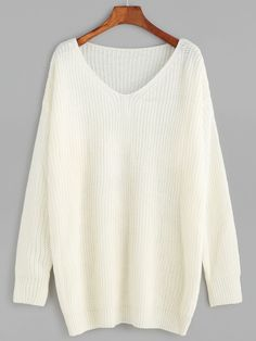 Online shopping for White V Neck Drop Shoulder Sweater from a great selection of women's fashion clothing & more at MakeMeChic.COM.