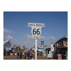 Santa Monica, California - RT 66 Wall Poster