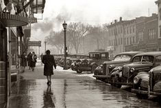 February 1940: The main street in Iowa City, Iowa. photo by Arthur Rothstein for the Farm Security Administration.