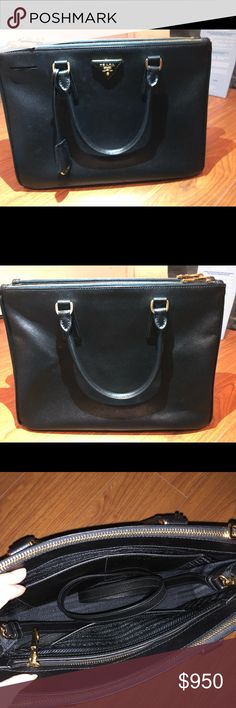 Prada Saffiano Small Excellent condition! You can't see the scratches on the leather. With authentic card and dust bag. Prada Bags Satchels