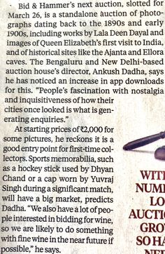 Exclusive Auction by Bid & Hammer coverage in Business Standard February 2020 edition Elizabeth First, Historical Sites, February, Auction, News, Business, Ellora, Business Illustration
