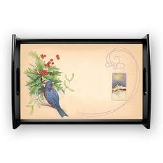 Christmas Serving Tray  A lovely vintage image of a blue bird amongst the holly. The illustration is balanced off with a lovely art deco d...