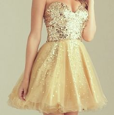 Gold & yellow strapless short poofy prom dress