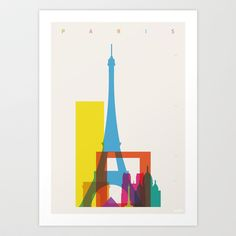 Shapes of Paris. Accurate to scale. Art Print by Yoni Alter - $20.00