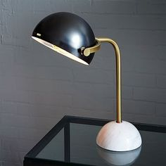 Adorable and sophisticated all at once.  Perfect for the desk.  Clint Desk Lamp - Antique Bronze/Marble #westelm