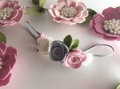 Felt flowercrown floral leaves pink grey and white baby