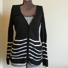 Victoria's Secret Striped button up cardigan So cute but doesn't fit! Purchased from VS catalogs , washed it, wore it once, and it's been hanging in my closet ever since. Super cute long lightweight cardigan with pockets :) wear buttoned up or open! Victoria's Secret Sweaters Cardigans