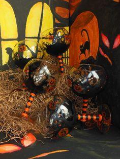 Halloween  Pumpkin and Bats  Orange and Black Hand-painted Wine Glass by ElvenBells, $24.99