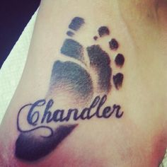 My tattoo for Chandler ♡♥♡ For those looking for footprint tattoo ideas.