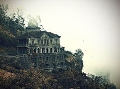 cliff, dark, house, nature, photography