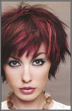 Short Dark Brown Hair With Red Highlights