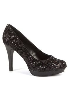 Wide Fit Black Sequin Court Shoes new look £23