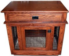 Wood and Wire Mesh Dog Crate End Table. Oak or maple construction with vinyl-coated wire. Front and Side Entry Door styles. Dog Kennel End Table, Dog Crate End Table, Wood Dog Crate, Wire Dog Crates, Dog Crate Furniture, Amish Furniture, Dog Crates For Sale, Plastic Dog House, Crate Nightstand