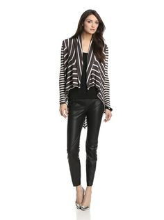 Ronen Chen Women's Kayla Contrasting Stripe Cardigan with Leather Pants